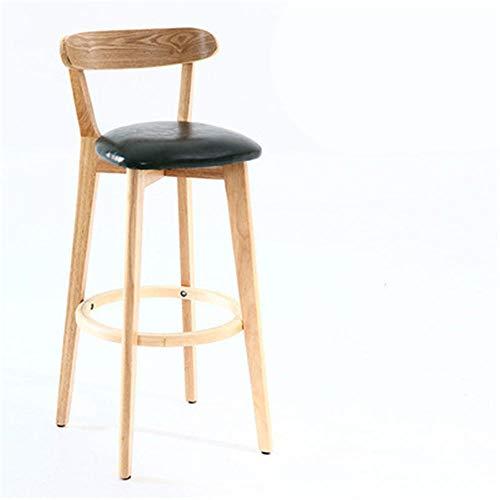 Zplyer Barkruk van hout metaal barkruk antislip comfortabel geschikt voor bars keukens en kantoren massief hout barkruk leer houtkleur minimalistisch groen