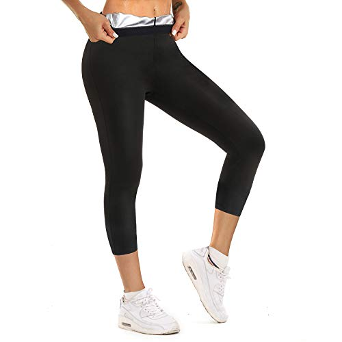 Ursexyly Women Sauna Sweat Pants Hot Thermo Fitness Exercise Leggings High Waist Slimming Workout Waist Trainer Capris Black Large