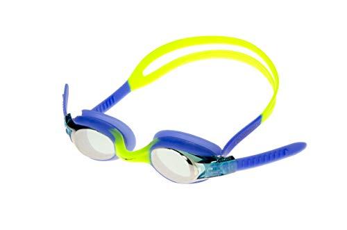 AqtivAqua Schwimmbrille Kinder Kinderschwimmbrille Schwimmbrillen für Kinder 3 4 6 8 10 Jahre (Blau/Gelb - PondNuphar)