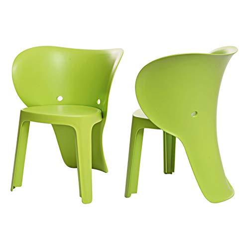 SoBuy KMB12-GRx2 2er Set Kinderstuhl mit Lehne Elefant Stuhl Stühlchen Cartoon Sitzhocker Grün Sitzhöhe 32cm