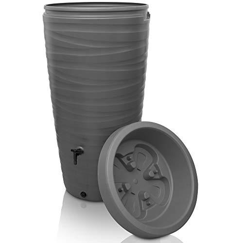 YourCasa Regentonne 240 Liter [Wave Design] Regenfass Frostsicher aus Kunststoff - Regenwassertonne mit Wasserhahn - Regenwassertank Garten (Grau)