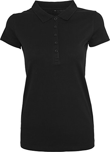 BLUE RAVEN Tailliertes leichtes Jersey Damen Poloshirt in schwarz oder weiss, Farbe:schwarz;Größe:L