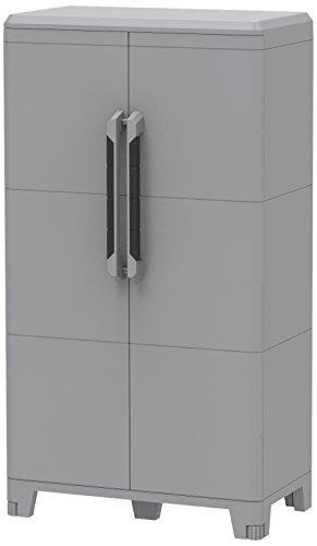 Transforming Modular 3, Armario Multifunción Alto 2 Puertas, Material Plástico, Dimensiones 78 x 43.6 x 143 cm, Gris/Negro