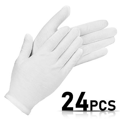 Vivibel 12 Paar Weiße Baumwolle Handschuhe, Trikot Handschuhe, Stoff Handschuhe Weiss,bequeme und atmungsaktive cotton gloves für Schmuck Untersuchen,Tägliche Arbeit usw