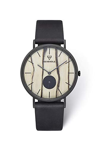 KERBHOLZ Holzuhr – Elements Collection Fritz analoger Unisex Multifunktions Uhr, Naturholz Ziffernblatt, echtes Lederarmband, Ø 40mm, Weiße Birke Schwarz