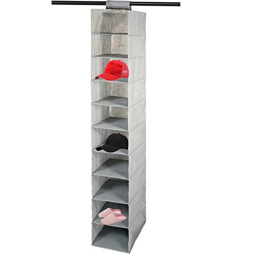 VesipaFly Hutablage mit 10 Ablagen zum Aufhängen von Hut- und Schuhaufbewahrung – Huthalter – Baseballkappen-Organisieren – schützt vor Schäden und Staub