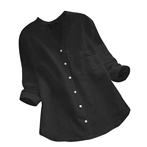 VEMOW Sommer Herbst Elegante Damen Frauen Floral Printed Langarm Beiläufig Täglichen Party Workout Tunika Swing Tops Shirt Bluse Hemd(Y12-Schwarz, 48 DE/XL CN)