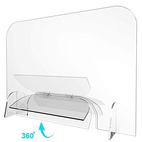 Preisvergleich Produktbild HUOQILIN Thekenaufsteller Mit Durchreiche - Infektionsschutzwand Aus Acryl-Glas - Quer Plexiglas - Mobile Trennwand - Zugriffsschutz Hustenschutz, 50x80cm