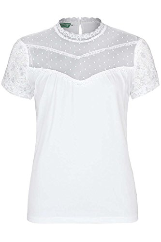 Country-Line Damen T-Shirt mit Spitze weiß, Weiß, 34