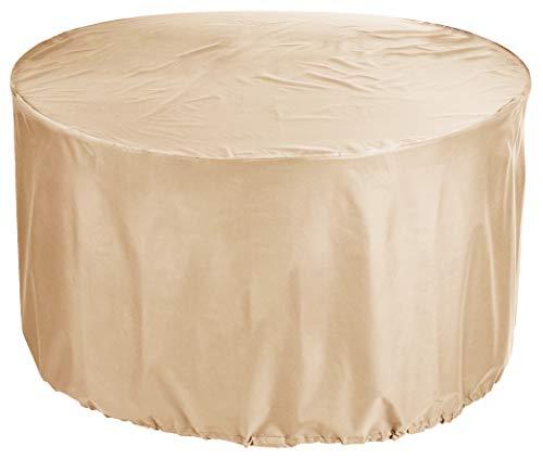 KaufPirat Premium Abdeckplane Rund Ø 100x80 cm Gartenmöbel Gartentisch Abdeckung Schutzhülle Abdeckhaube Outdoor Round Patio Table Cover Beige