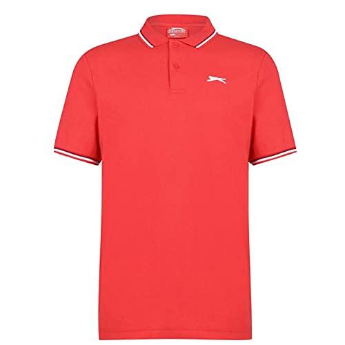 Slazenger Herren Tipped Polo Shirt Kurzarm Polohemd Streifen Details Kirschrot 3XL