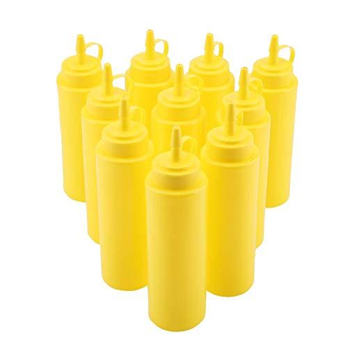 Confezione da 10 bottiglie da 240 ml, in plastica, per condimenti, con tappo a torsione, perfette per ketchup, barbecue, salse, condimenti, condimenti e molto altro (giallo)