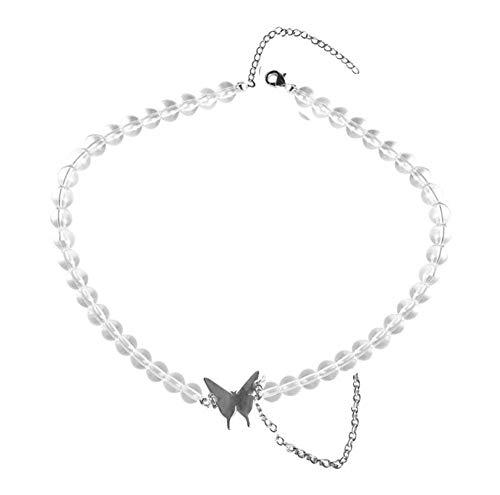 QAZQAZ Halskette Kette Frauen Schmetterling Mädchen Schmuck Silber Farbe Titan Stahlhalsbänder