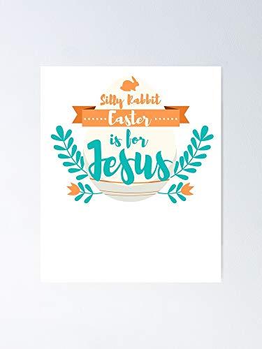 Situen Pster divertido de regalo cristiano de Pascua con conejo tonto es para Jesucristo. Decoracin de sala de juegos, imprimibles para nios, arte de la pared del vivero, habitacin para imprimir.