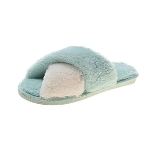 MDCGL Zapatillas de Estar por Casa para Otoño Invierno Felpa Descalzo Zapatillas Suaves con Punta Abierta, Zapatos de Plataforma cálidos para el hogar de Las Mujeres para Dormitorio jardín Verde EU40