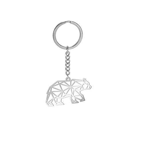 EUEAVAN - Llavero con colgante de oso de acero inoxidable para mujer y hombre (oso)