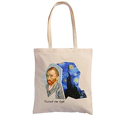 Hole Gadget S.r.l Shopping Bag Cotone 100% in Tela Naturale Ecosostenibile, Shopper Tote con Illustrazioni Pittoriche e Stampe Made in Italy (Van Gogh 2)