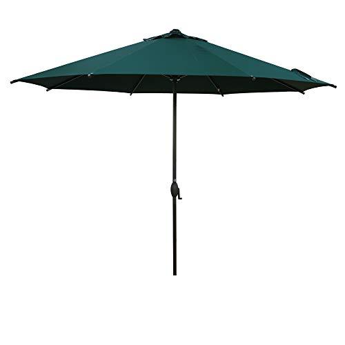 Abba Patio 11ft Patio Umbrella Outdoor Umbrella Patio Market Table Umbrella with Push Button Tilt and Crank for Garden, Lawn, Deck, Backyard & Pool, Dark Green