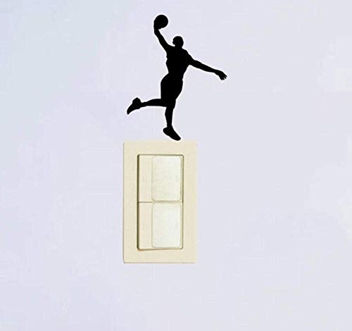 Encantador Jugador De Baloncesto Vinilo Decorativo Interruptor De Luz Calcomanía De Pared 2 Piezas