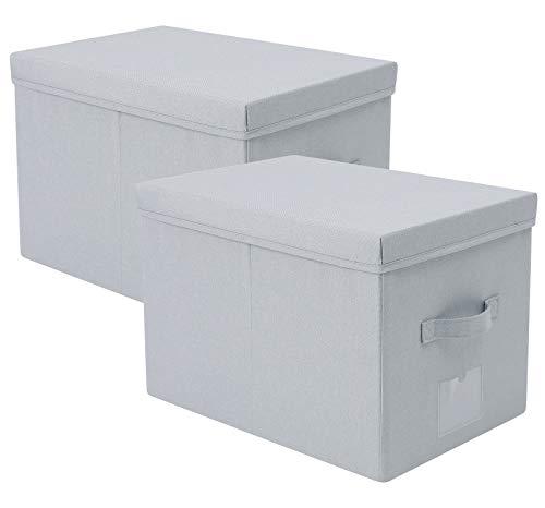 43 x 30 x 30 cm, paquete de 2, caja de almacenamiento plegable de tela con tapa, caja de documentos de oficina | estantes de almacenamiento para juguetes, libros, ropa, gris claro