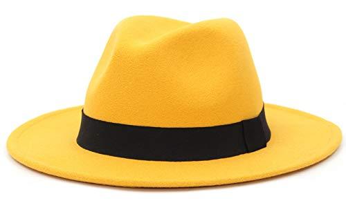 EOZY-Cappello Panama Vintage Uomo Unisex Fedora in Cotone Classico Bombetta Jazz Berretto Tinta Unita Decorazione Cintura (circonfernza 59-60cm, Giallo)