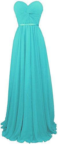 Faironline Women's Sweetheart Chiffon Bridesmaid Dress Long Prom Gowns Size 16 Tiffany Blue