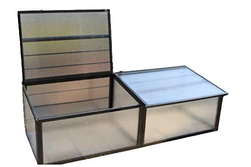 Serra in policarbonato alveolare spesso 16mm, Aleana 5 doppia per giardino, orto o balcone con profili color cristallo. 196*65* h 45/44 cm