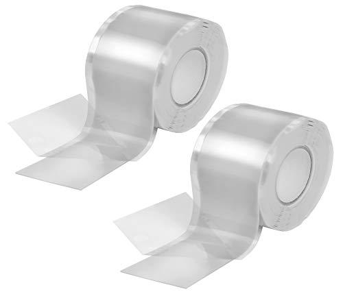 Poppstar 2x 3m selbstverschweißendes Silikonband, Silikon Tape Reparaturband, Isolierband und Dichtungsband (Wasser, Luft), 38mm breit, transparent