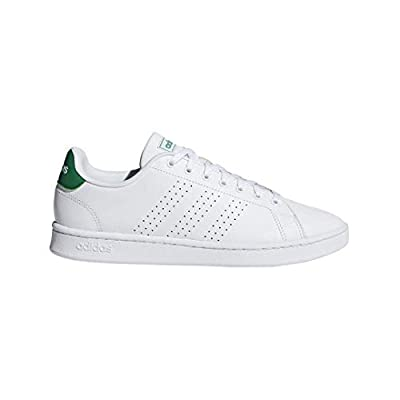 adidas Men's Advantage Tennis Shoe, White/White/Green, 10.5 M US