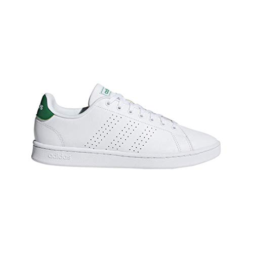 adidas Men's Advantage Tennis Shoe, White/White/Green, 9.5 M US
