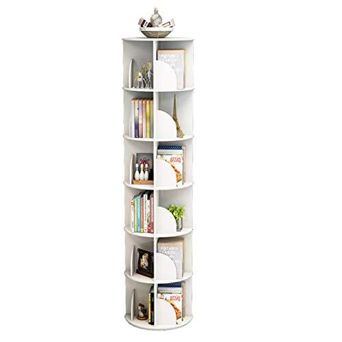 Librerías Estantería Giratoria Biblioteca De 360 Grados Estante De Mesa Estante De Almacenamiento De Piso Mesa De Centro (Color : Blanco, Size : 40 * 190cm)