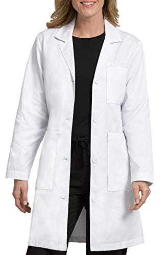 Med Couture Women's Lab Coat 37 Inch White Labcoat Long, Size S