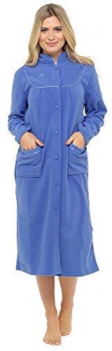Calda e morbida vestaglia in pile a maniche lunghe, con bottoni e tasche, da donna Blu scuro 54/56 IT