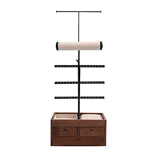 Adesign Soporte de exhibición de joyería 2 en 1, árbol de Rack de joyería con 3 Barras de Metal con Orificios, cajones y Ranuras extraíbles, para Collares, Pulseras, aretes, Anillos