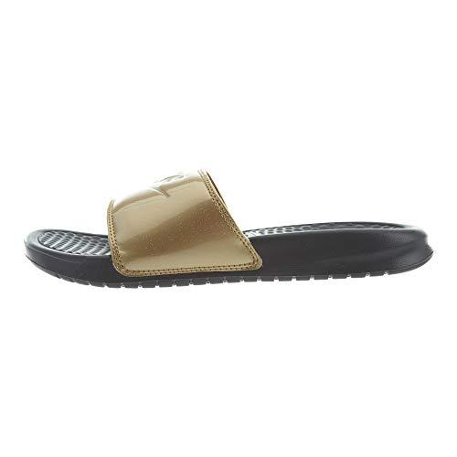 Nike Wmns Benassi JDI Print, Zapatillas Impermeables Mujer, Multicolor (Black/Metallic Gold 022), 40.5 EU