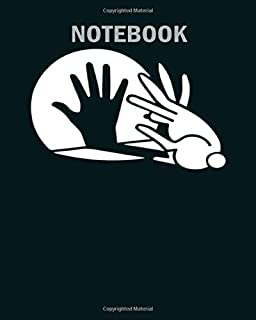 Notebook: rabbit hand shadow puppet1 - 50 sheets, 100 pages - 8 x 10 inches