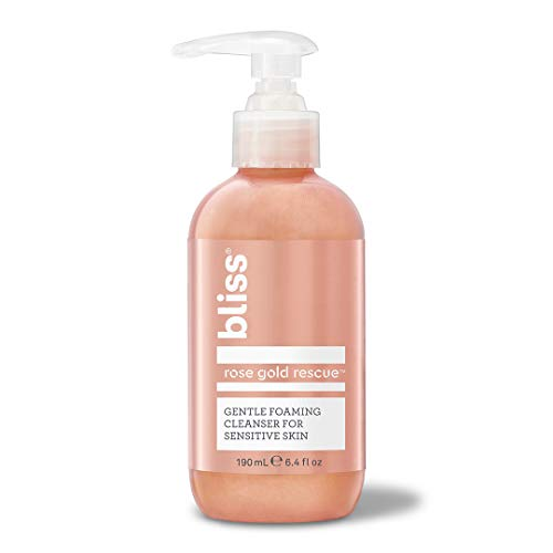 Bliss Rose Gold Rescue Cleanser Gentle Foaming Face Wash | With Soothing Rose Flower Water & Willow Bark for Sensitive Skin | Clean | Cruelty Free | Paraben Free | 6.4 oz