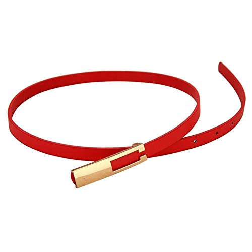 SSM Moda Elástica de Las Mujeres Cinturones Correa Delgada Delgada Damas Vestido de Cintura Cintura Cuero Dorado Hebilla Hembra Rojo Cinturones estampación/Style 2 Red