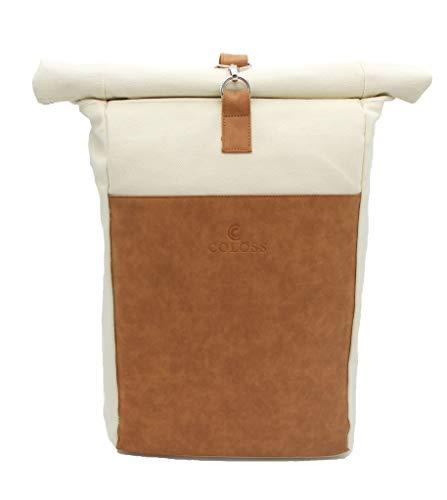 Coloss Rolltop Rucksack Damen und Herren Beige Backpack mit Laptopfach, 20 Liter Volumen, für Schule, Uni & Freizeit