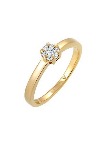 DIAMORE Ring Damen Blume Verlobung mit Diamant (0.15 ct.) in 585 Gelbgold