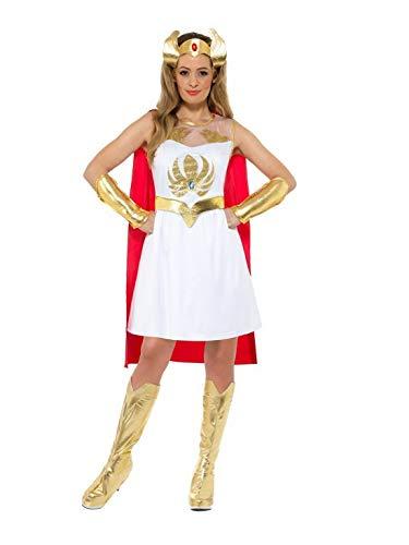 Luxuspiraten - Damen Frauen glänzendes Glitter She-Ra Superheldinnen Kostüm mit Kleid, Umhang, Kopfschmuck, Arm-und Beinstulpen, perfekt für Karneval, Fasching und Fastnacht, M, Weiß