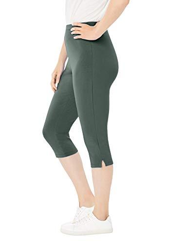 Woman Within Women's Plus Size Stretch Cotton Capri Legging - L, Pine