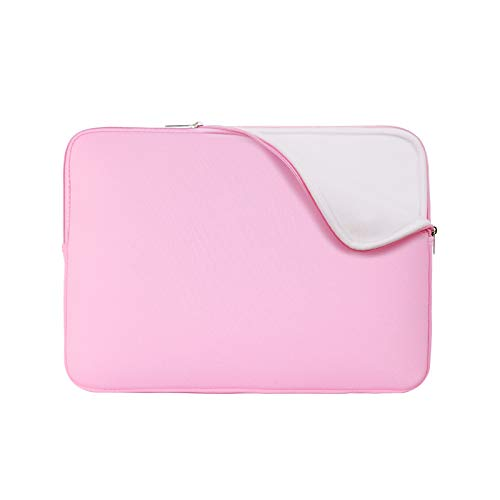RAINYEAR 15-15.4 Inch Laptop Sleeve Protective Case Padded Zipper Carrying Computer Bag Cover with Soft Fluffy Lining, for 15.4 MacBook Pro/Retina/Touch Bar Ultrabook Notebook Chromebook of Dell HP ThinkPad Samsung Lenovo Asus Acer(Pink,Upgraded Version)