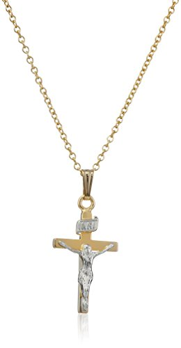 Children's 14k Gold-Filled Two-Tone Crucifix Cross Pendant Necklace, 15'