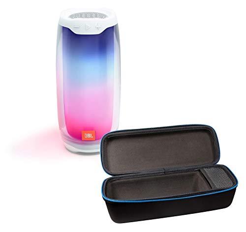 JBL Pulse 4 Wireless Bluetooth IPX7 Waterproof Speaker Bundle with divvi! Portable Hardshell Travel Case - White