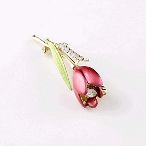 Kitechildhssd Elegante Flor de tulipán Broche Pin Taladro Cristal Bisutería Ropa Herramientas