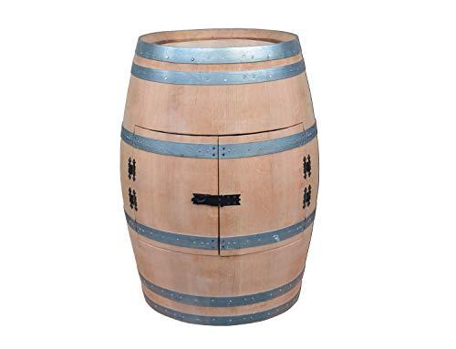 Temesso Weinfass als Weinregal Weinschrank Bar - geschliffen (unbehandelt) (Mit Tischplatte D 80 cm Nussbaum)