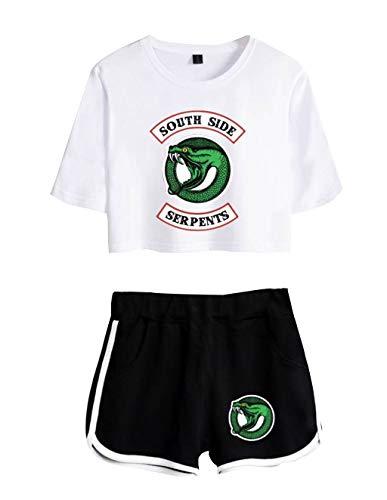 Camiseta y Pantalón Corto Riverdale Adolescente Chica Serpientes Camiseta de Manga Corta Verano Conjunto Deportivo para Niña y Mujere (4, S)