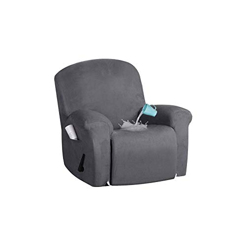 Waterproof Stretch Recliner Slipcover, 4 Pieces Recliner Chair Cover Sofa Slipcover Anti-Slip Armchair Covers Soft Cozy Recliner Cover Furniture Protector-gray