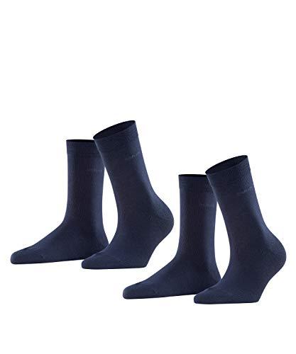 ESPRIT Damen Basic Easy 2-Pack W SO Socken, Blickdicht, Blau (Marine 6120), 35-38 (2er Pack)